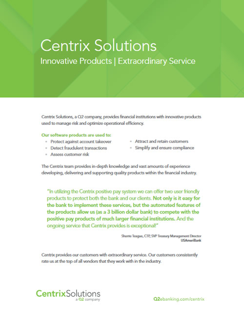 Centrix Company Brochure - Anti-fraud Solutions